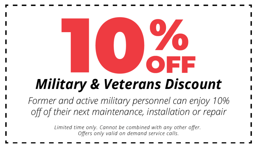 10% off military and veteran discount for hvac maintenance, installation or repair services coupon