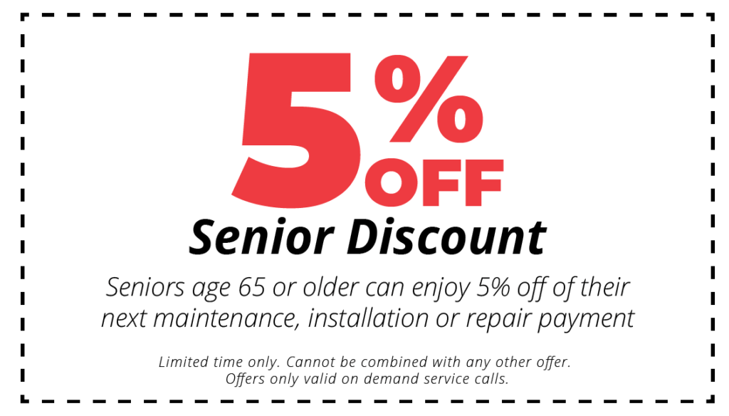 5% off senior discount for hvac mainenance, installation or repair services coupon