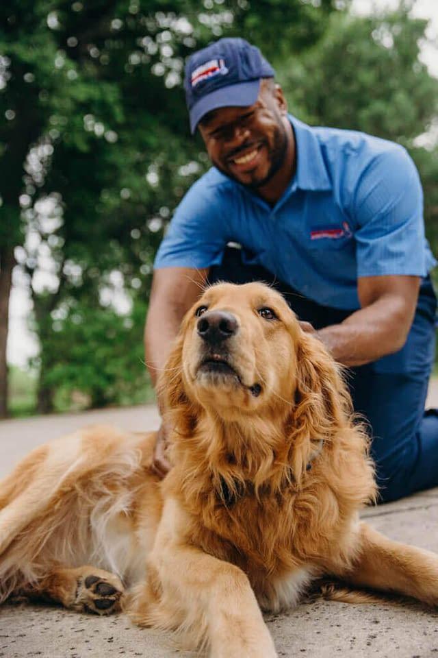 HVAC technicians with a dog