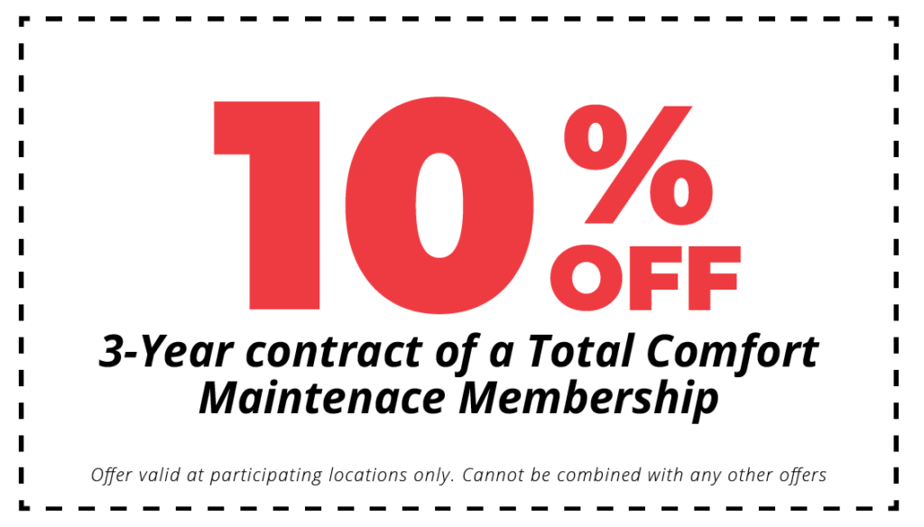 10% off 3 year contact of total comfort hvac maintenance plan coupon